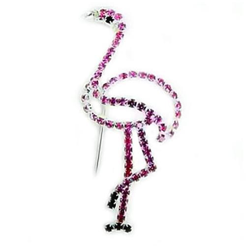 Pink Flamingo Pin All Rhinestones - Silvertone -RSP3093
