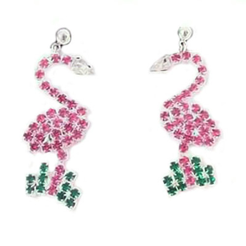 Pink Flamingo Post Dangle Earrings with Rhinestones Silvertone - RSPE2586-B