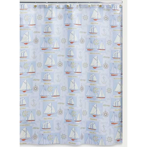Sailing 100% Cotton Shower Curtain S1062BLU