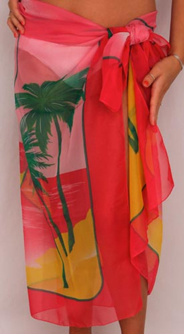 Sarong Full Size Sheer/Opaque Palm Trees Pink - SAR124P
