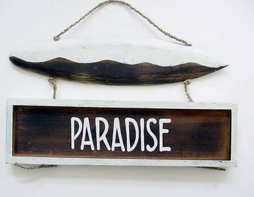 Paradise Sign - Carved Painted Wood - SG-PARA
