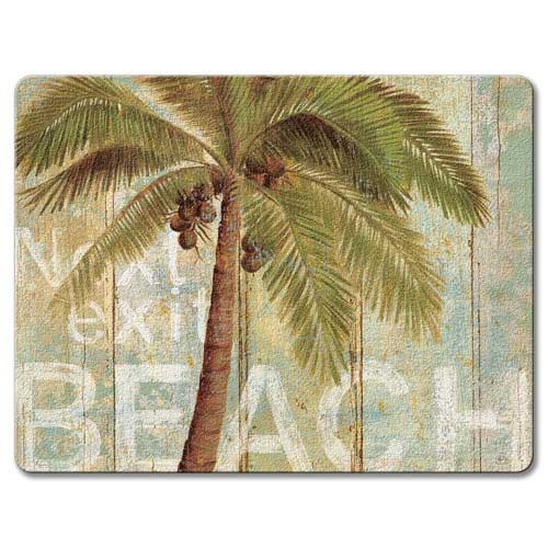 Palm Tree Beach Glass Surface Saver Small Cutting Board 22-00210