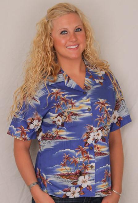 Aloha Blouse  - Palm Trees & Flowers on Blue - 346-3460