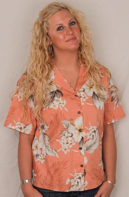 Aloha Blouse  - Peach w White Flowers - 346-3162