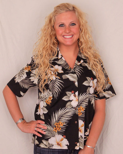 Aloha Blouse - Black with White Flowers - 346-2820
