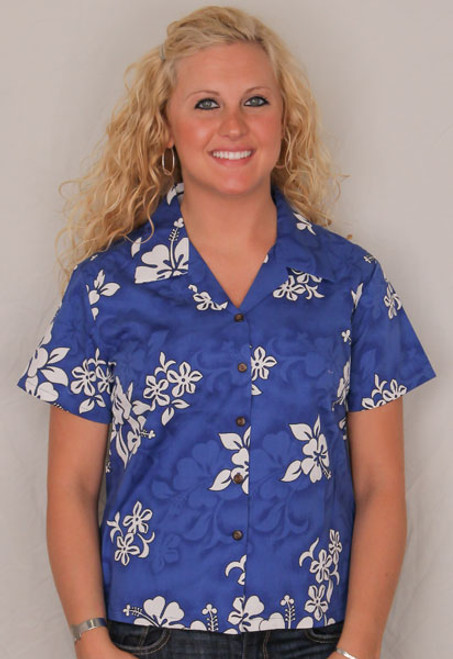 Aloha Fitted Blouse  - Royal Blue w White Flowers- 348-3156