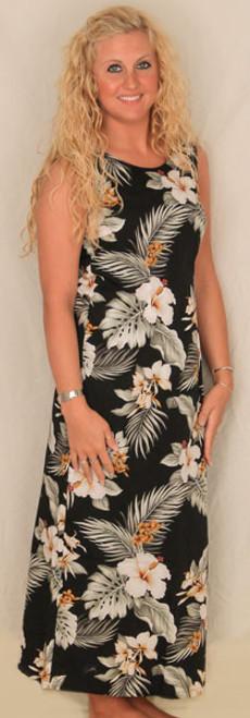 Aloha Shift Dress Long - Black with White Flowers  - 321-2820