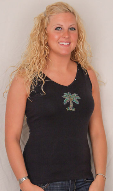 Palm Tree Tank Top Black with Rhinestones   - 6041/964