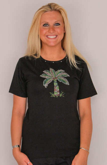 Palm Tree Tee Shirt - Black with Rhinestones -910-800