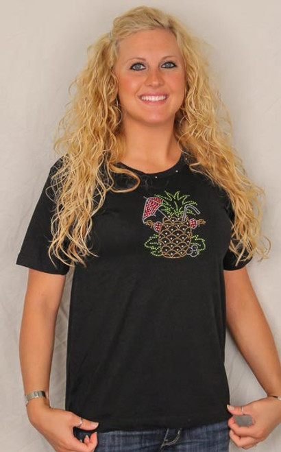 Pineapple Drink Theme Tee Shirt - Black with Rhinestones - 239
