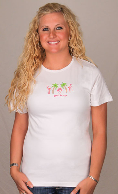 Pink Flamingo Pajamas Scoop Tee Shirt - Ladies  - GSR263WP