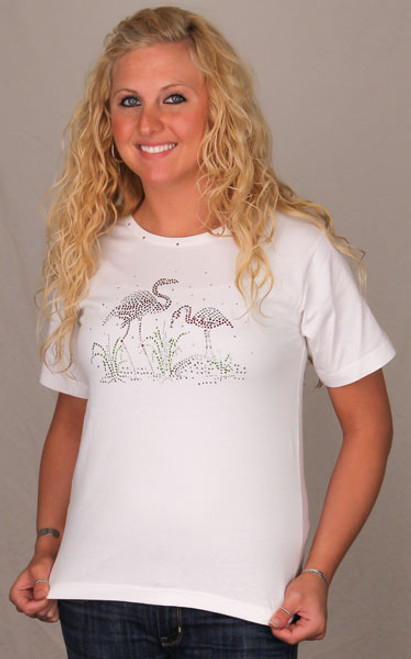 Pink Flamingo Tee Shirt - White with Rhinestones - 800/1181