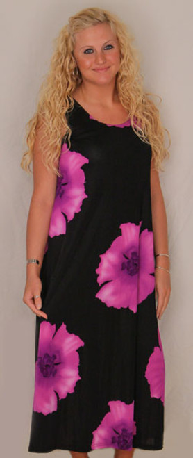 Hibiscus Flowers Long Tank Dress - Purple Size Medium - DRS852-FL-P