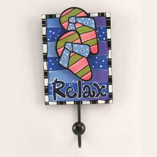 Relax Flip Flops Painted Wood Hook 10871