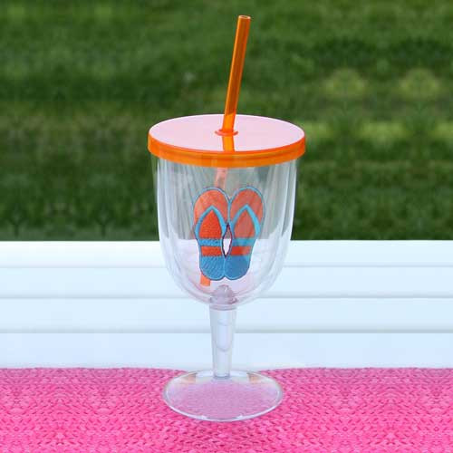 Flip Flops Orange Acrylic Wine Goblet 17oz 60840OR