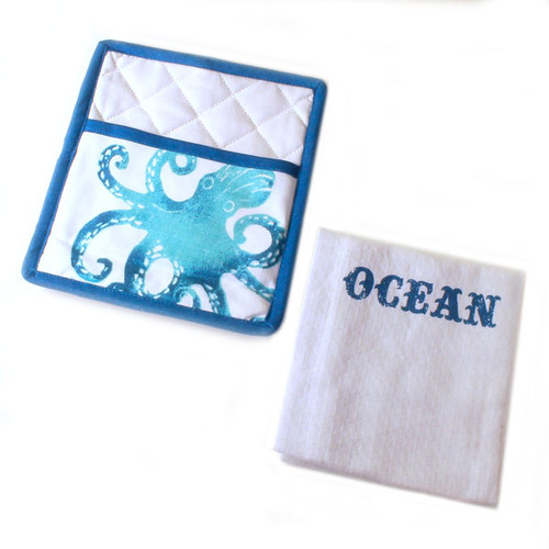 Ocean Life Pot Holder & Towel Set 25960-Ocean