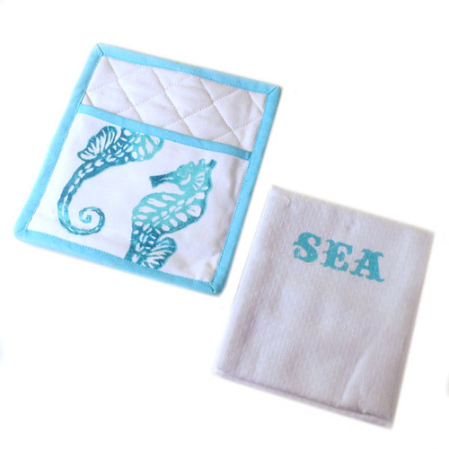 Sea Life Pot Holder & Towel Set 25960-Sea