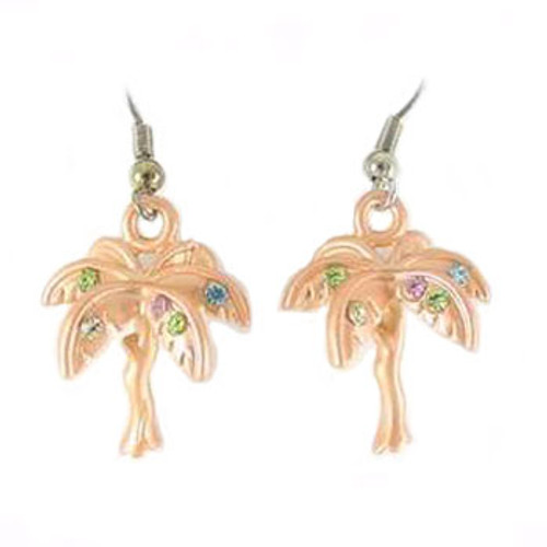 Palm Tree Drop Earrings Orange with Rhinestones - RSN1718OR-E