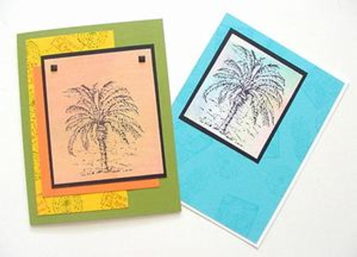 Palm Tree Greeting Note Card - Beautiful Hand Crafted – Blue