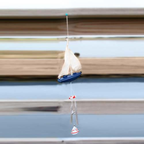 "Sail Boat Art 19"" Windchime Blue 20250B"