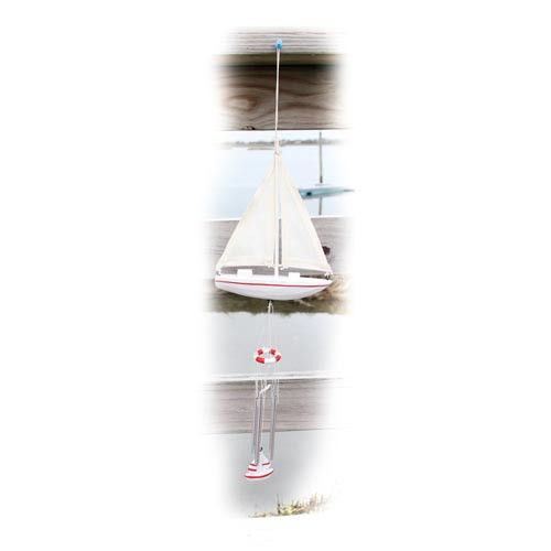 "Sail Boat Art 19"" Windchime White 20250W"