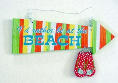 "Flip Flops ""I'd Rather Be at the Beach"" Wood Sign - 11303"