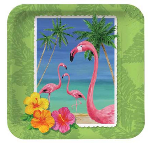 "Flamingo Tropical Paper Plates 7"" 412447"