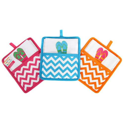 Tropical Fantasy Flip Flop Pot Holder & Towel Set 60802