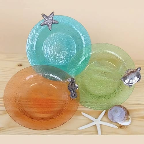 "Sealife Colored Glass 10"" Bowls 25194"