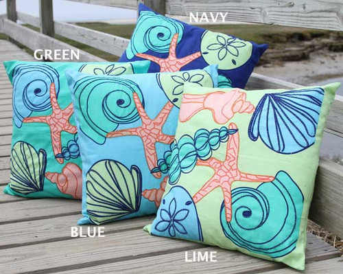 Beaded Sea Shell Pillow
