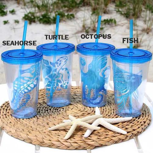 Sea Life Insulated Plastic Tumbler Lid & Straw 25983