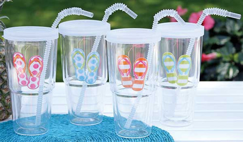 Flip Flop Design 24oz. Covered Tumbler Flex Straw 60180