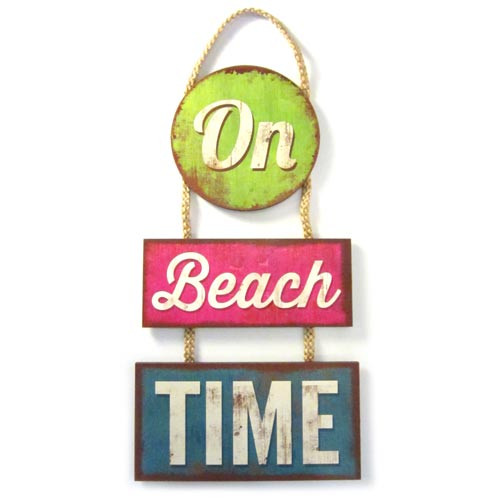 On Beach Time Wood Sign 30-061
