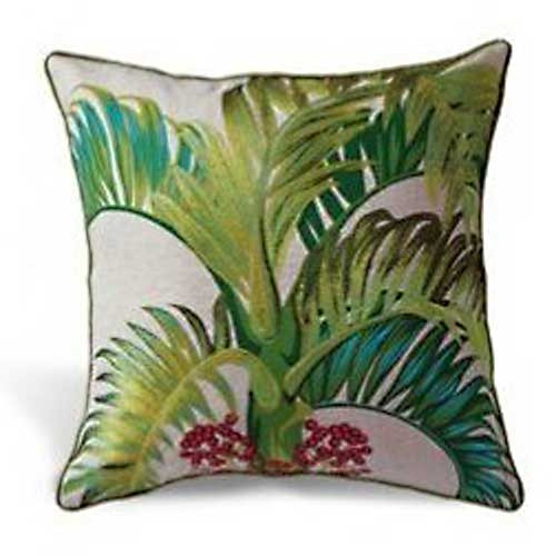 Manila Palm Cotton Linen Embroidered Pillow 9949057101