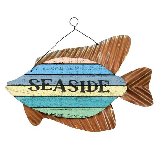 """Colorful Fish Sign - """"Seaside"""" - 70147S"""