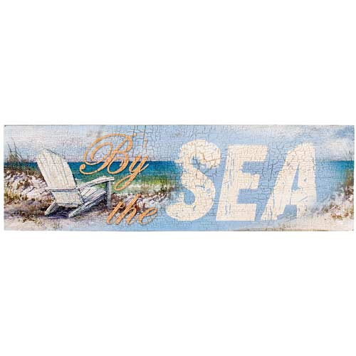 "Large Wooden Wall Sign - ""By the Sea"" - 69115B"