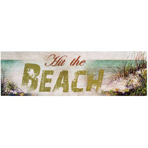 "Large Wooden Wall Sign - ""Hit the Beach"" - 69115C"