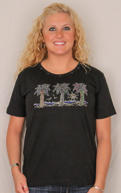 Three Palm Tree Tee Shirt - Black with Rhinestones 910-800-3B