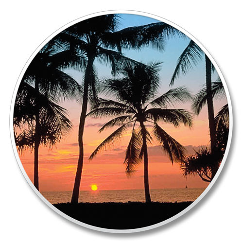 """Palm Tree Sunset"" - Stone Car Coaster Cupholder 03-00052"