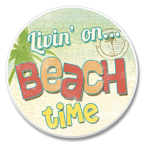 """Beach Time"" - Stone Car Coaster Cupholder 03-00490"