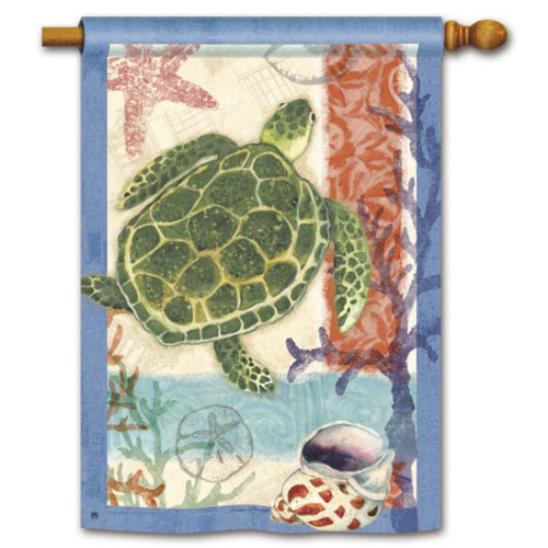"Swimming Sea Turtle House Flag - 28"" x 40"" - 94047"