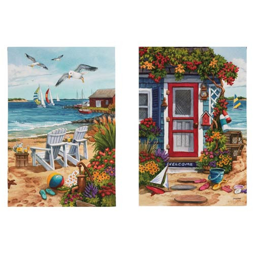 Sea Shore Cottage Two Sided Garden Flag 14S2902FB
