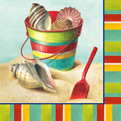 Beach Days Shell Paper Cocktail Napkins Pk of 20 Beverage - 4NC1978