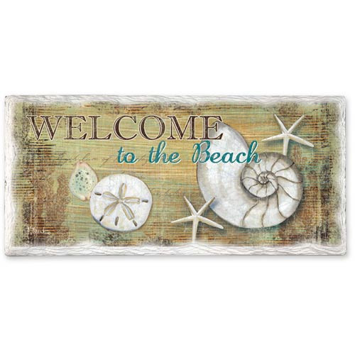 Welcome to Beach Shell Stoneware Tumbled Tile Ceramic 8x4 Wall Sign 33044