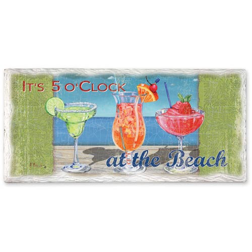 5:00 at Beach Stoneware Tumbled Tile Ceramic 8x4 Wall Sign 33151
