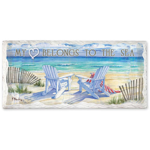 Heart Relax by Sea Stoneware Tumbled Tile Ceramic 8x4 Wall Sign 33071