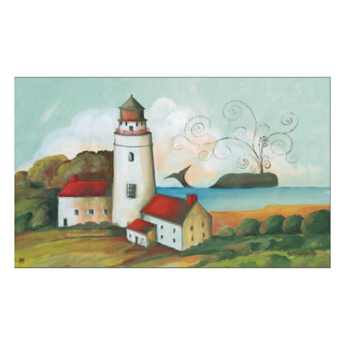 "Whale Lighthouse Beach Floor Mat - 18"" x 30"" - 18910"