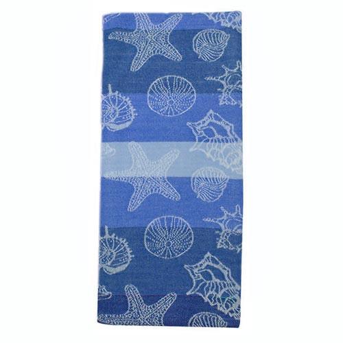 Sea Shells Jacquard Dishtowel Blue 26893B