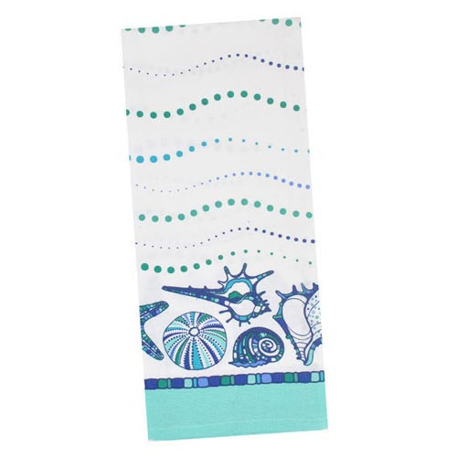 Blue Sea Shells Printed Dishtowel 26903