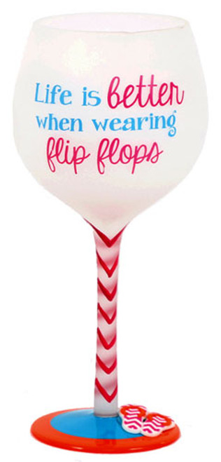 Flip Flop Better Hand Painted Wine Glass 18oz 60340B